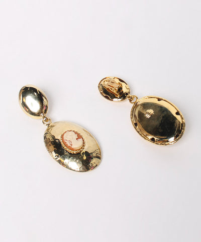 Gold Tone Door Knocker Earring with Cameo - C.Madeleine's
