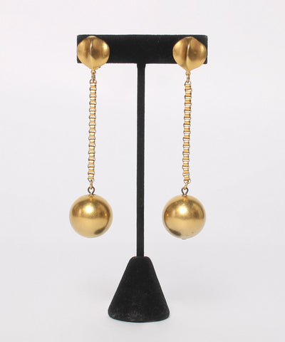 Progress- Gold Tone 80's Ball Drop Earring (NO ON MODEL PHOTO) - C.Madeleine's