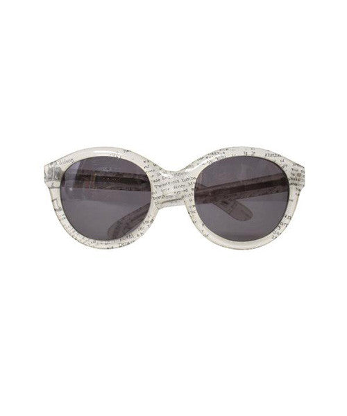 Carel White and Black Newspaper Print Oversized Cat Eye Sunglasses