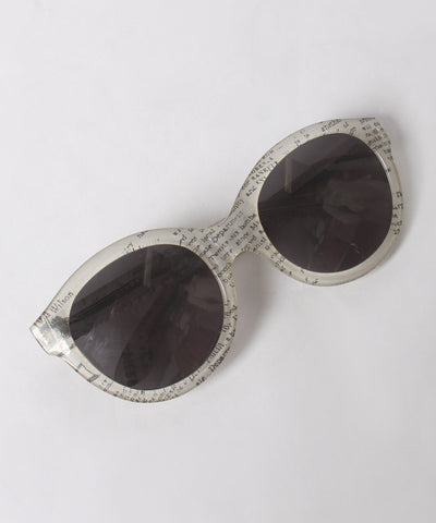Carel White and Black Newspaper Print Oversized Cat Eye Sunglasses - C.Madeleine's
