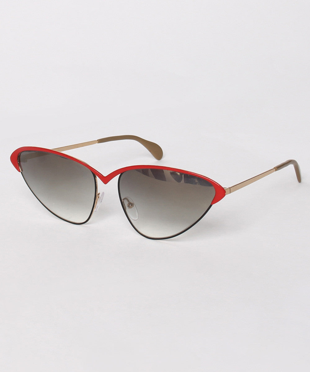A.PROGRESS- Brendel Black with Red Top Wire Cat Eye Sunglasses - C.Madeleine's