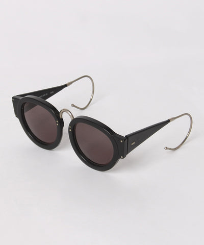 IDC Black Thick Round Sunglasses with Silver Cable Temples - C.Madeleine's