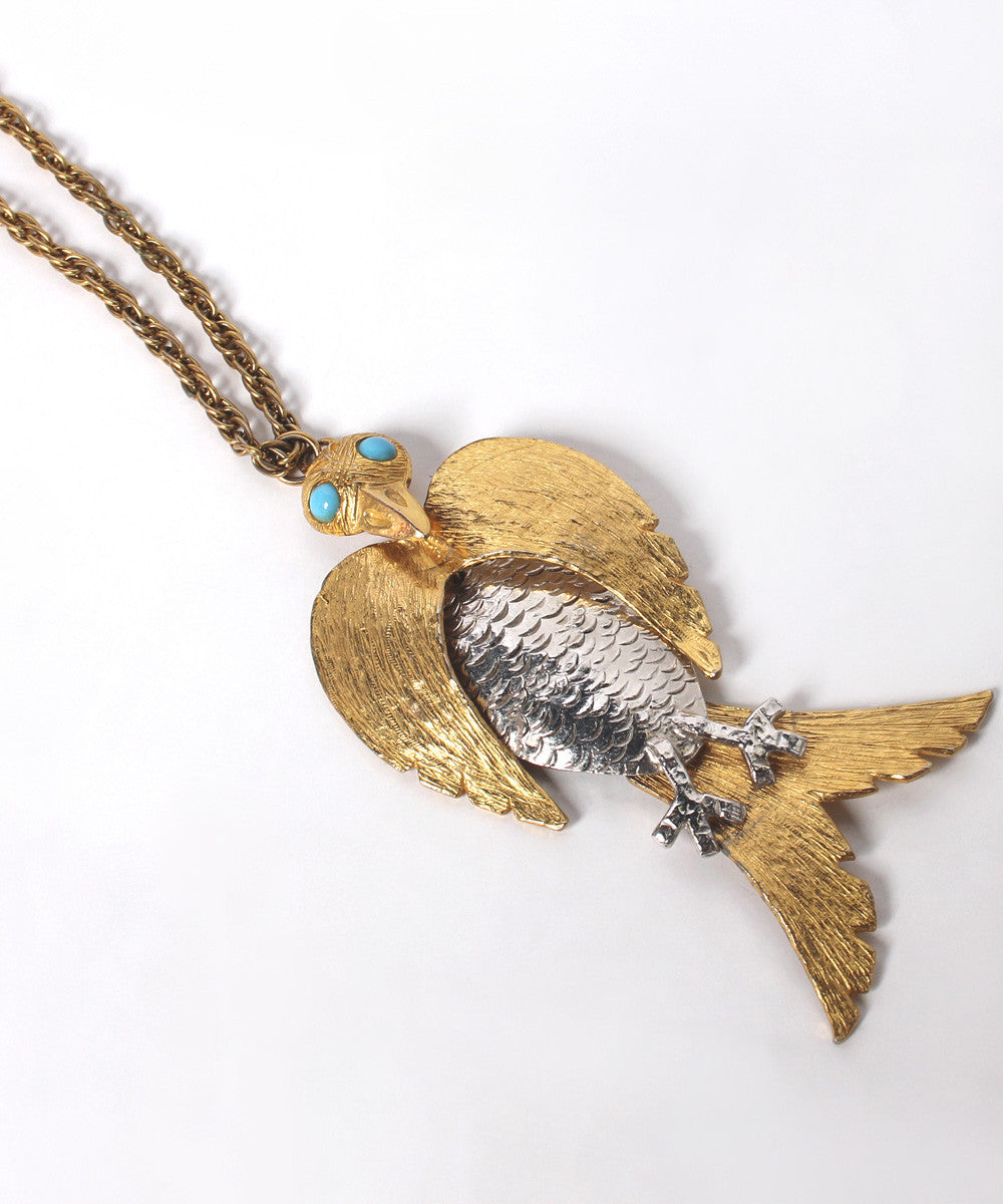 Progress - NO ON WHITE PHOTO - OLGA  Kenneth Lane Gold and Silver 70's Bird Necklace - C.Madeleine's