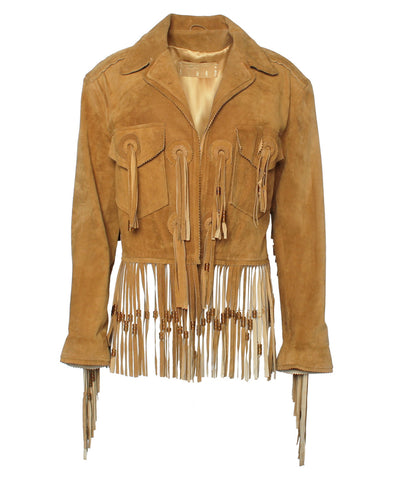 Kenar Fringe and Beaded Suede Jacket