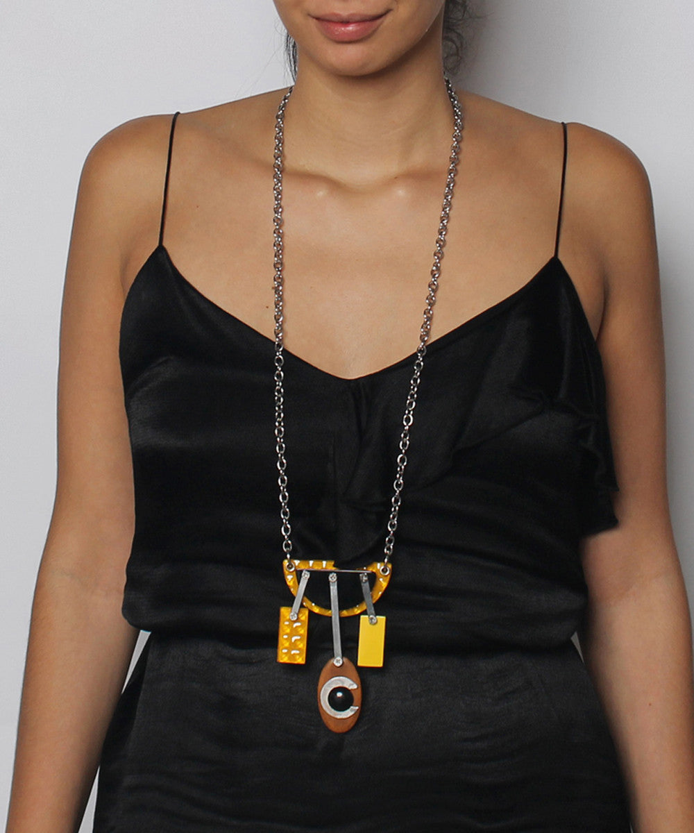 Abstract Geometric Shape Design with Silver Link Chain Necklace - C.Madeleine's