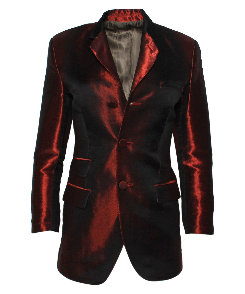 Jean Paul Gaultier 1990s Burgundy Metallic Silk Blazer