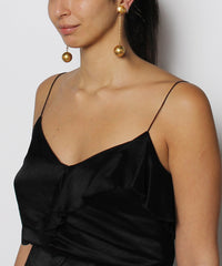 Brushed Gold Tone Chain and Ball Drop Earring - C.Madeleine's