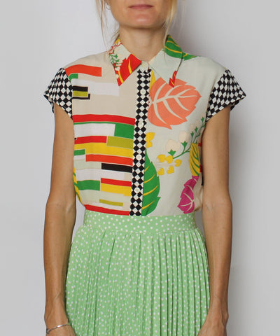 K.PROGRESS - Kenzo Jeans Multicolor Sleeveless Floral/Checkered Print Blouse (NO PHOTOS) - C.Madeleine's