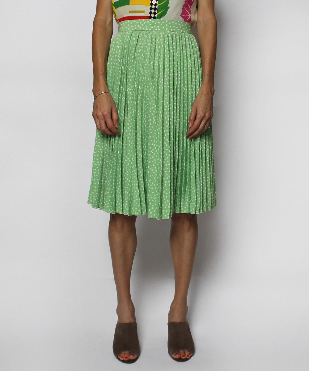 Guy Laroche Pastel Green Polka Dot Pleated Knee Length Skirt - C.Madeleine's