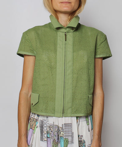 K.PROGRESS - Akris Punto Dusty Green Perforated Zip Up Short Sleeve Top (NO PHOTOS) - C.Madeleine's