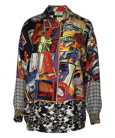 Gianni Versace Multicolor Traveling Postcard Print Silk Blouse