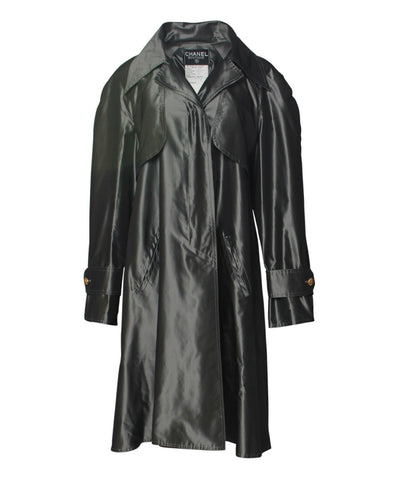 Chanel 1980s Gunmetal Silk Trench Coat - C.Madeleine's