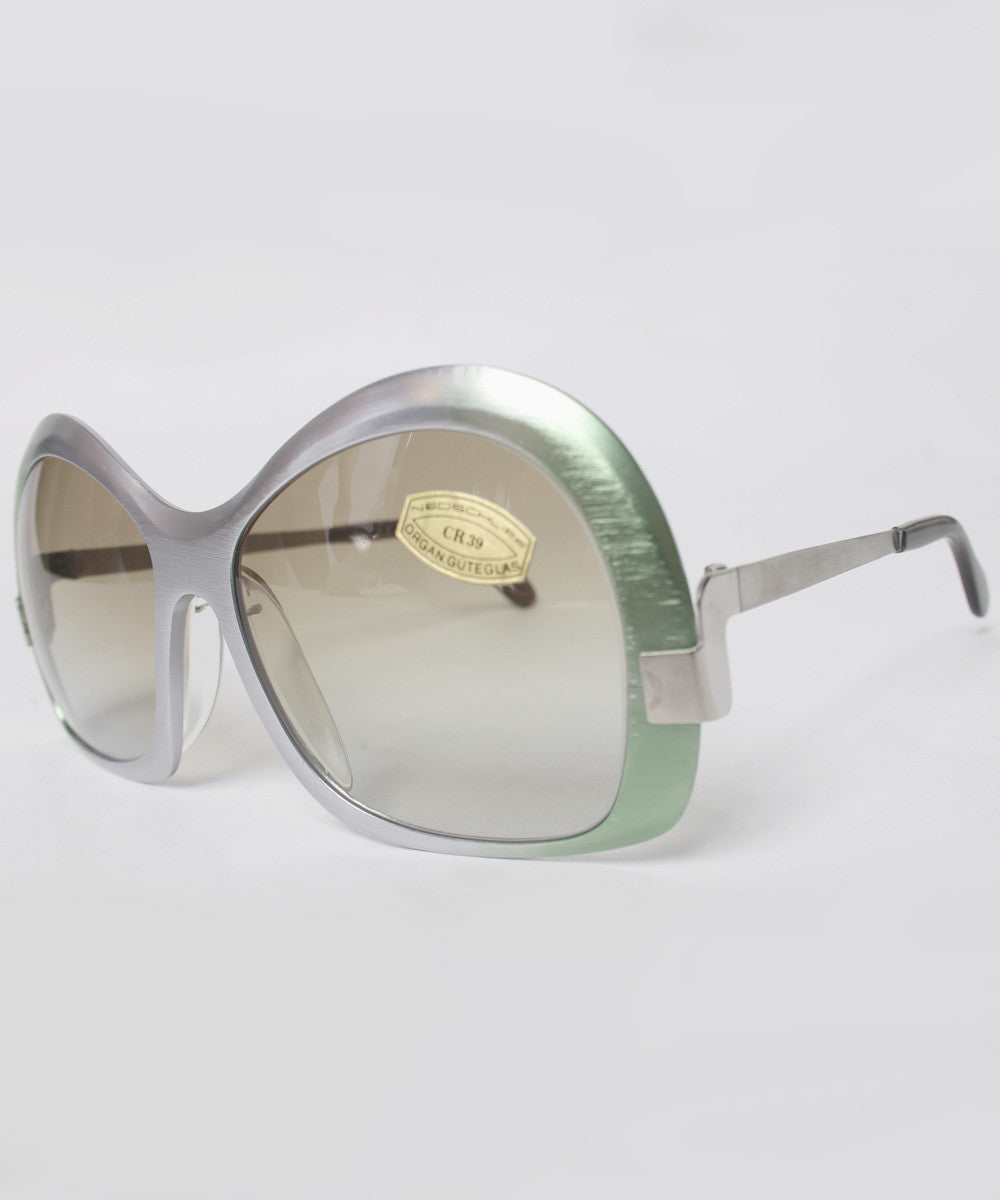 Neostyle Silver and Green Ombre Brushed Aluminum Sunglasses - C.Madeleine's