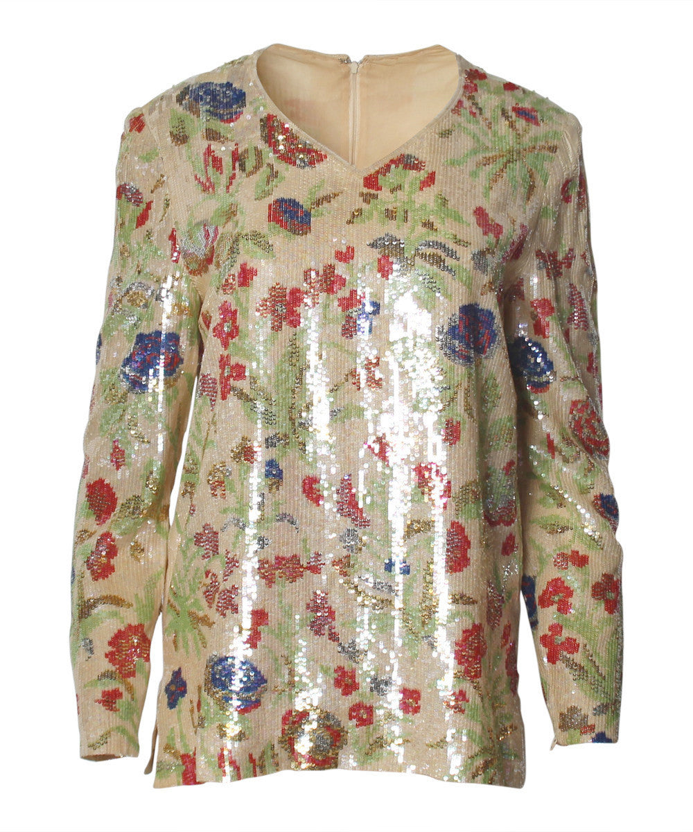 Bill Blass 1980s Floral Sequined Top