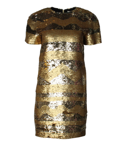 Bill Blass 1980s Gold Sequin Sheath Dress