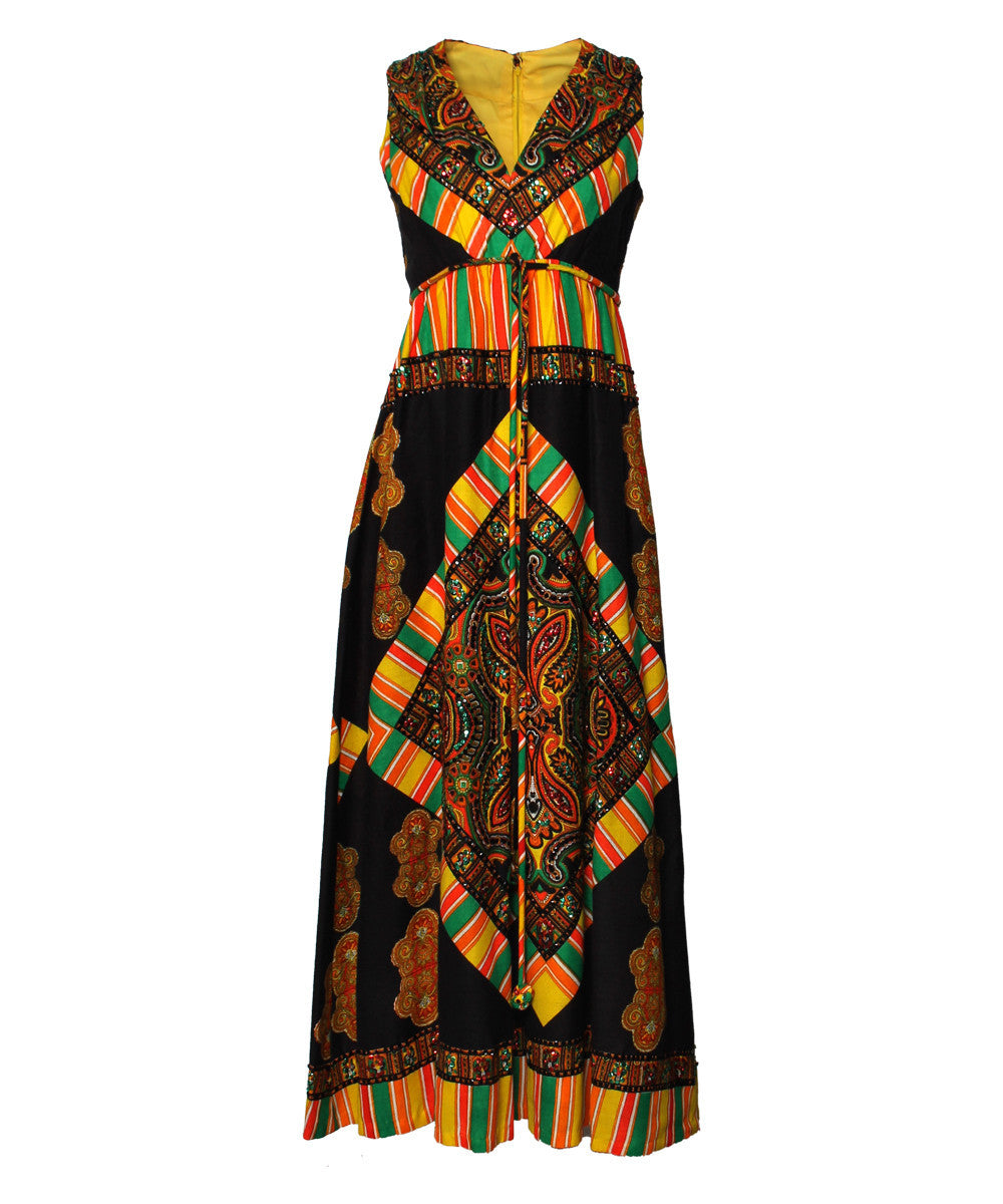 Roger Milot for Fred Perlberg 1960s Perlberg Psychedelic Jumpsuit