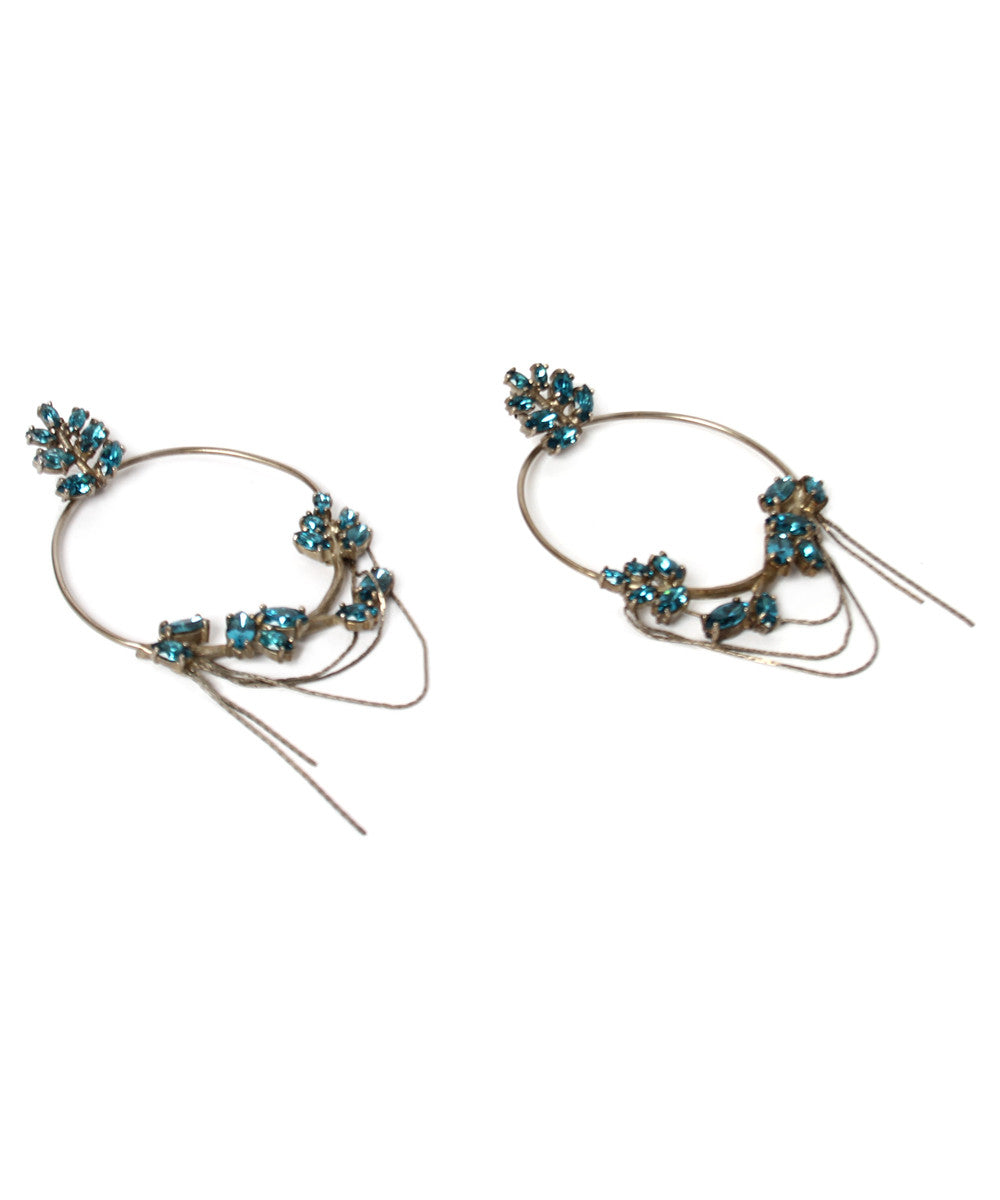 PROGRESS- Jean Paul Gaultier Silver Tone Hoops with Blue Faux Topaz Stones - C.Madeleine's
