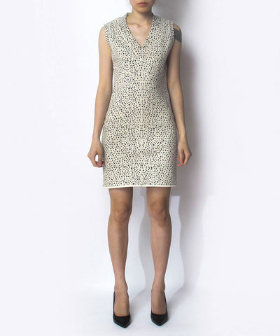 Alaia Panther Print Cream Sleeveless Dress