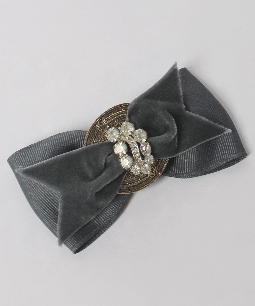 Landelius Collection Grey and Velvet Ribbon Hair Clip - C.Madeleine's