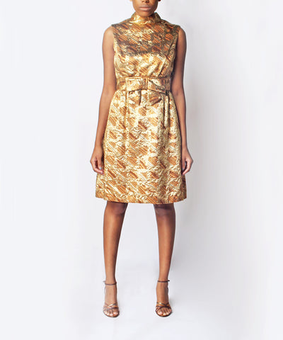 1960s Gold Brocade Dress