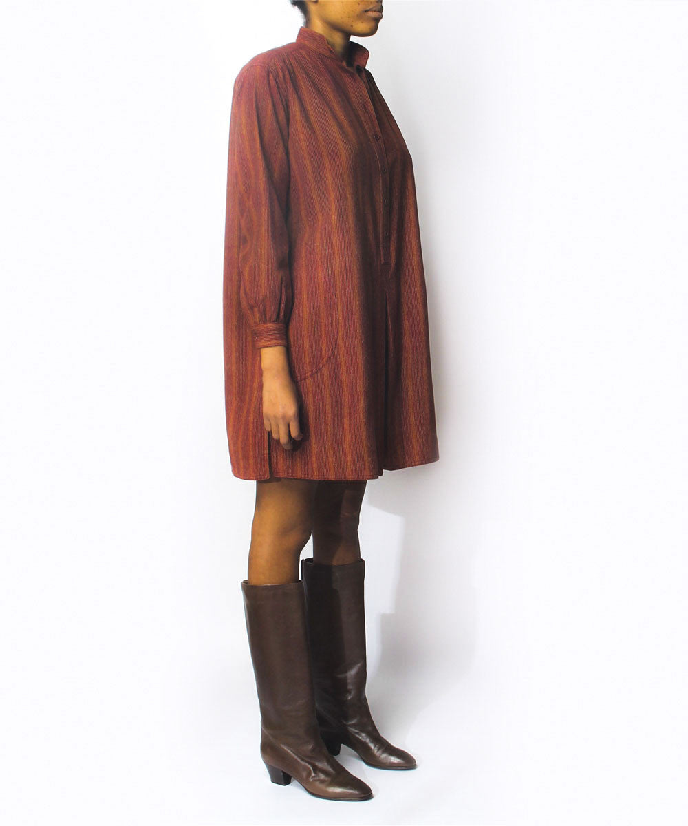 Saint Laurent Copper Striped Wool Tunic Dress