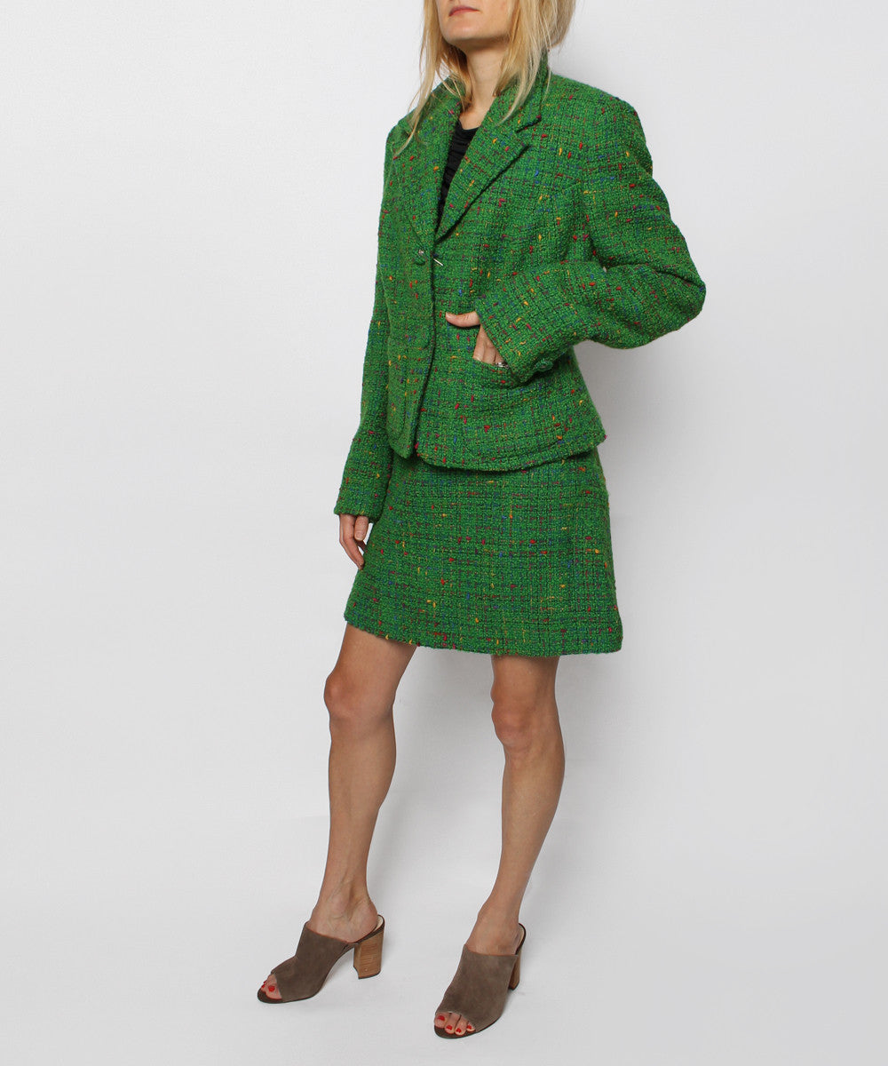 PROGRESS-Versace Jeans Couture Boucle Two Button Short Jacket with Matching Aline Skirt - C.Madeleine's