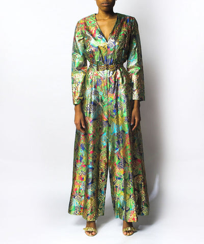 Multicolor & Gold Brocade Palazzo Jumpsuit - C.Madeleine's
