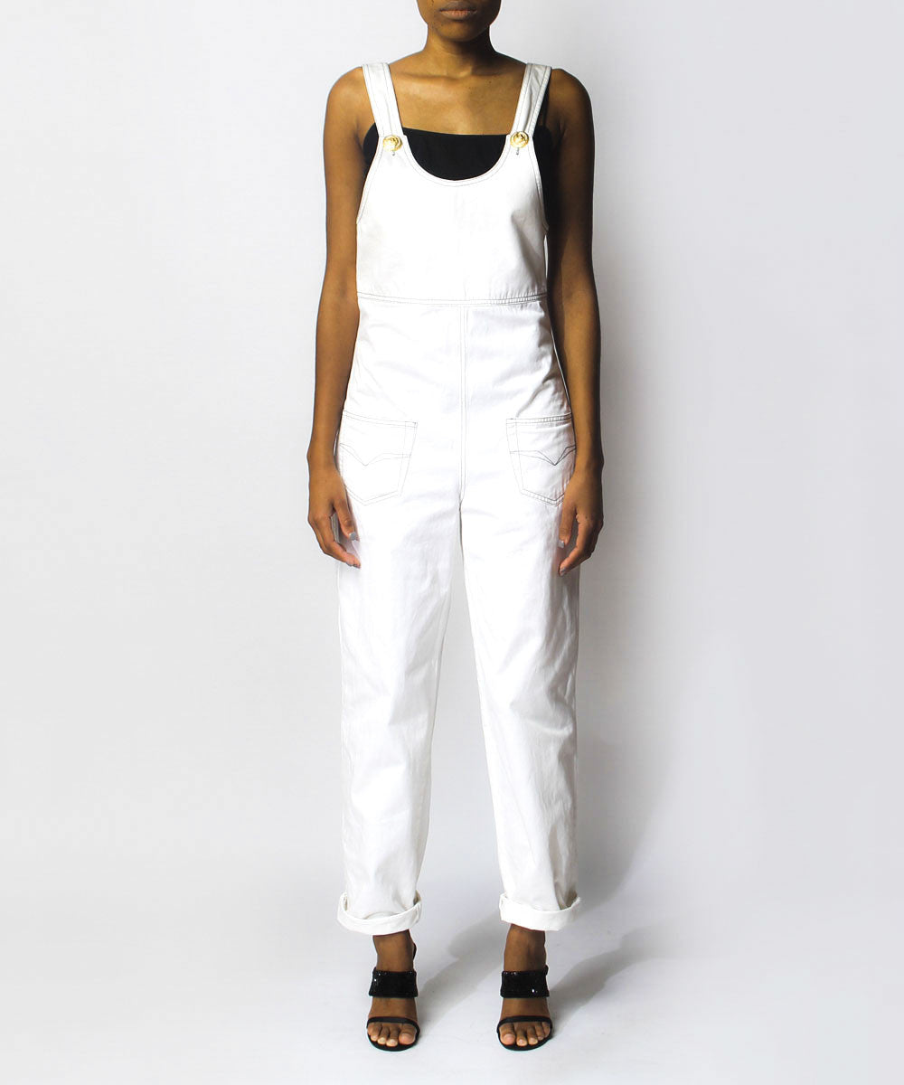 Versace Jeans Couture White Denim Overalls