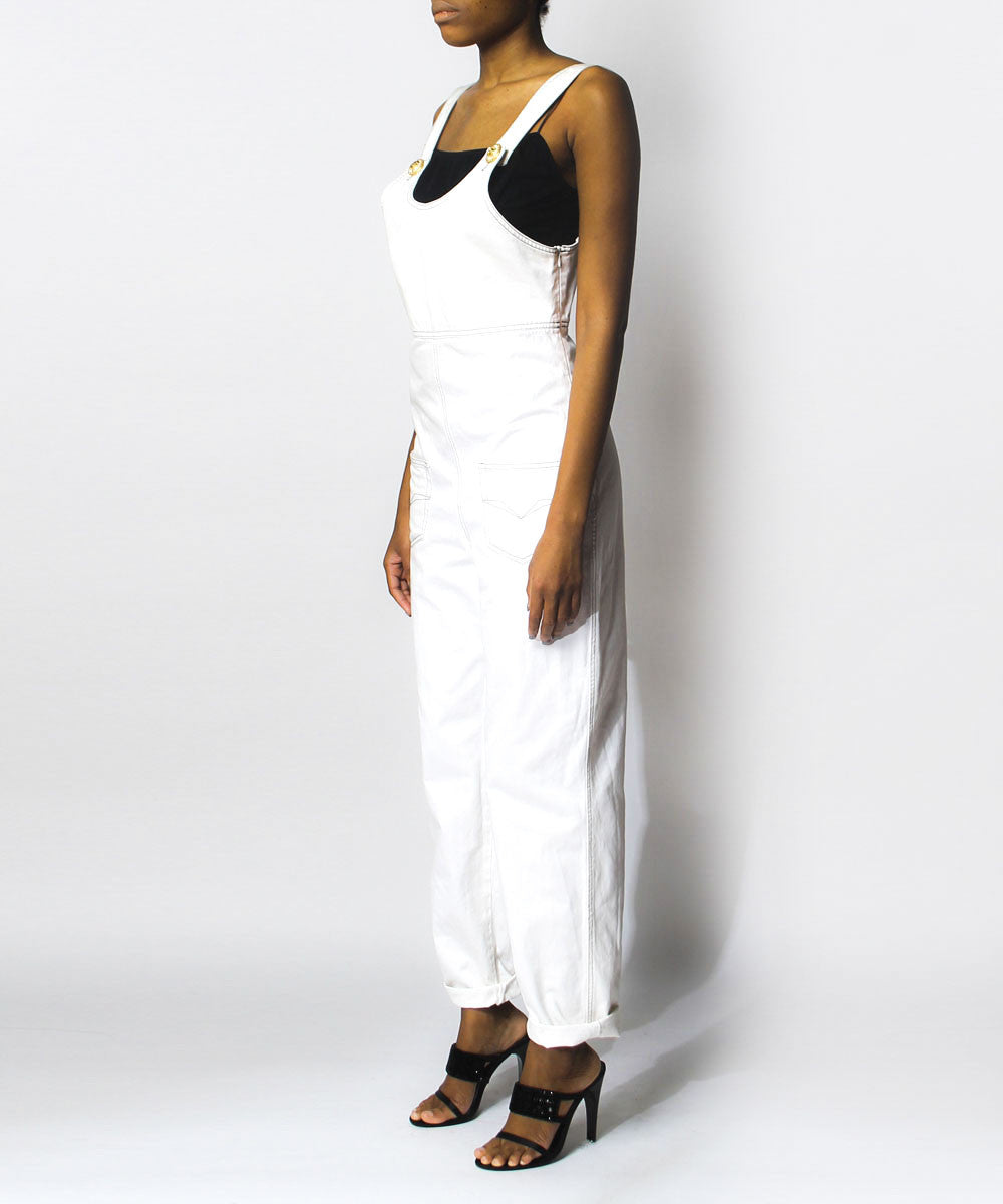 Versace Jeans Couture White Denim Overalls - C.Madeleine's