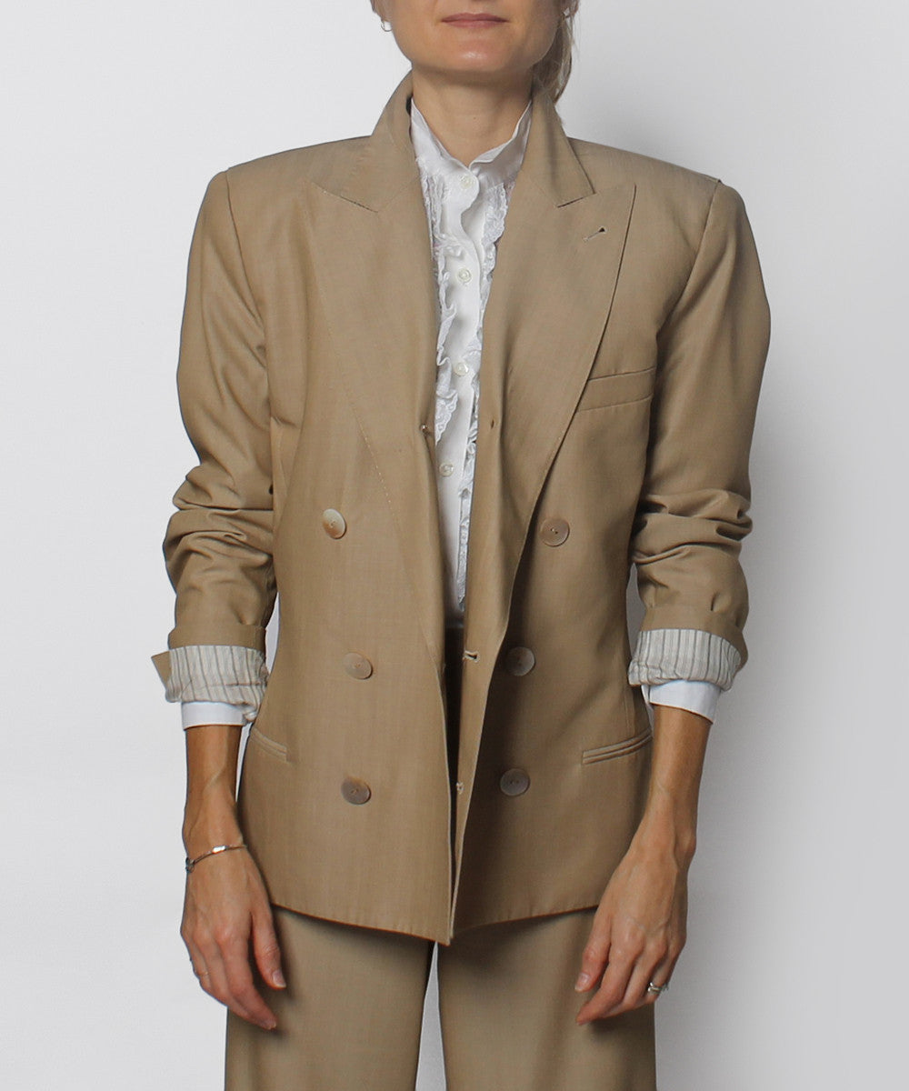 Jean Paul Gaultier Khaki Double Breasted Blazer and Trousers Set - C.Madeleine's