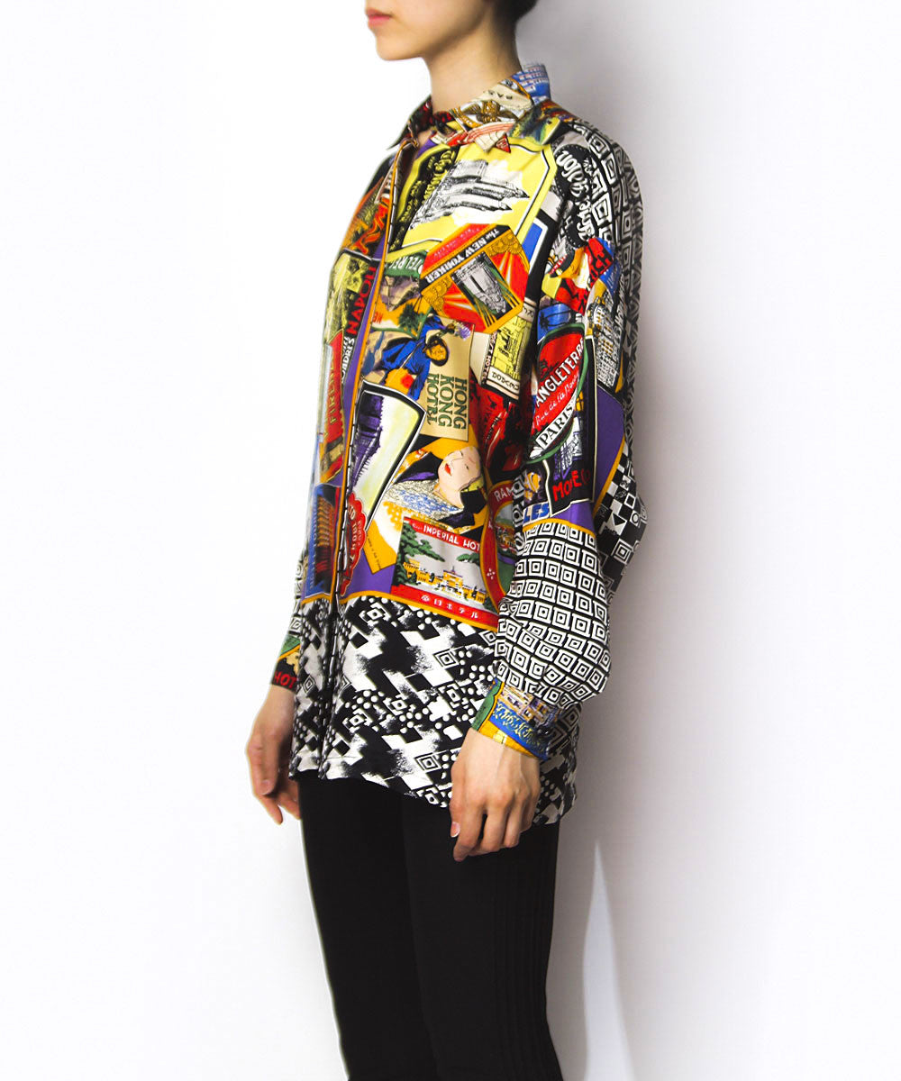 Gianni Versace Multicolor Traveling Postcard Print Silk Blouse - C.Madeleine's