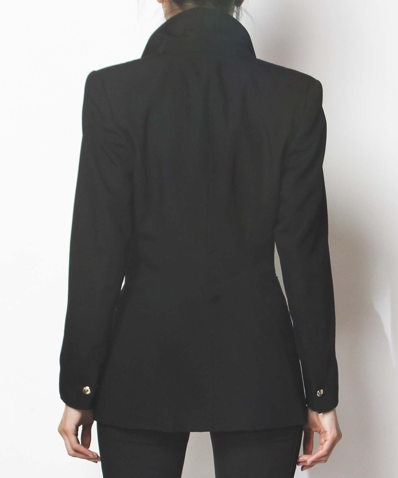 Claude Montana Black Long Blazer with Chain Detail - C.Madeleine's