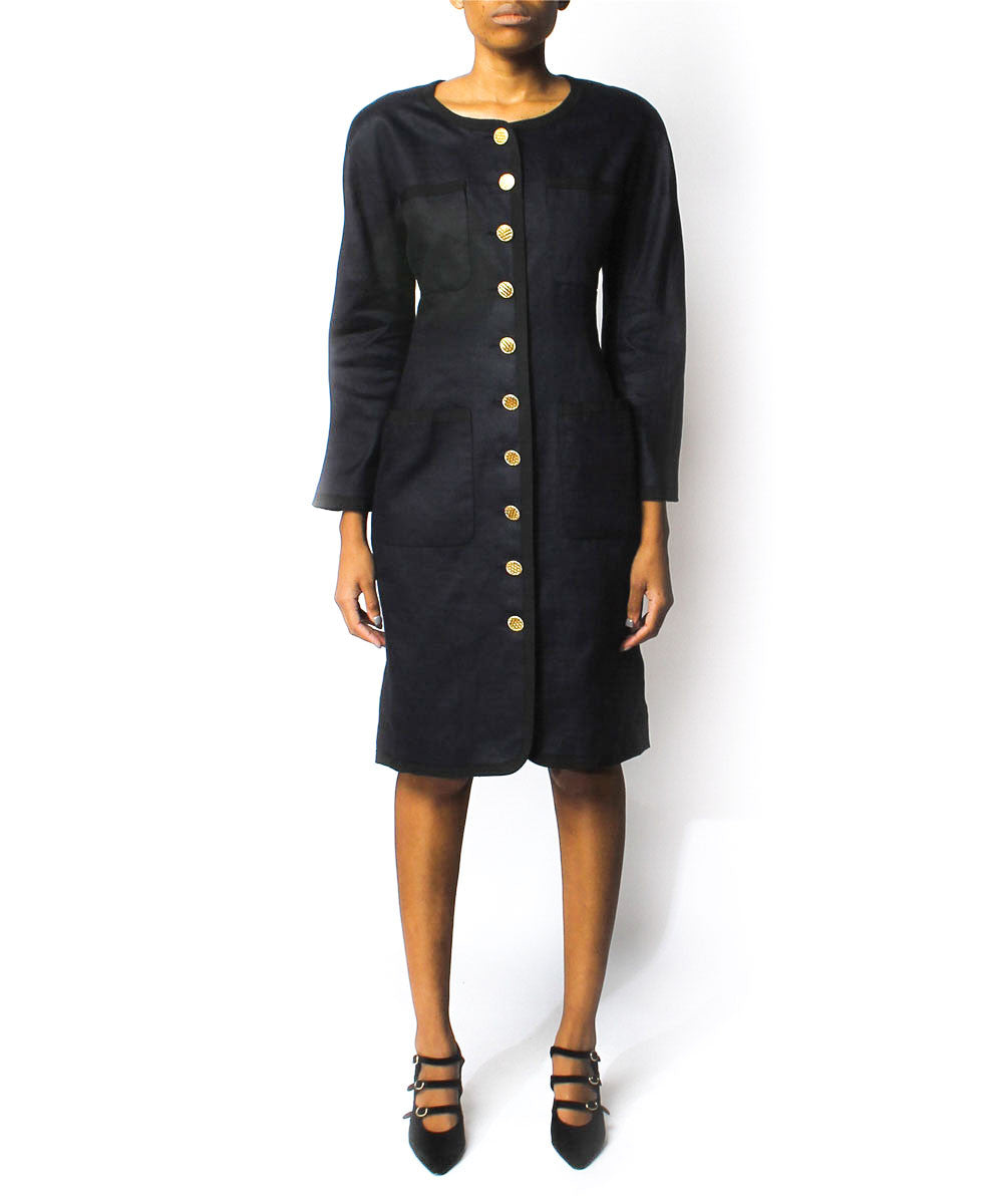Chanel Navy Linen Suit Dress - C.Madeleine's