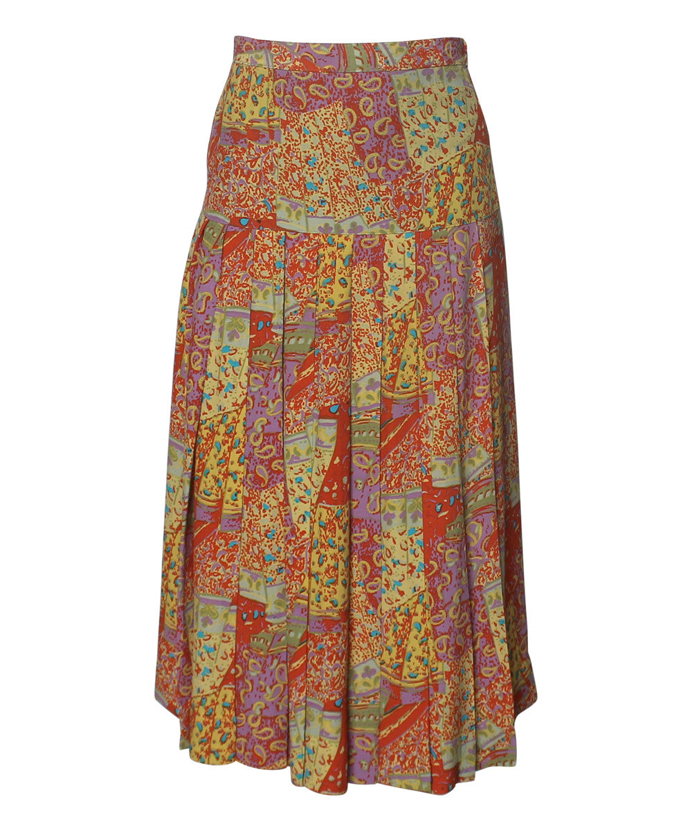Progress- Multi Color Pleated Drop Waist Long Skirt - C.Madeleine's