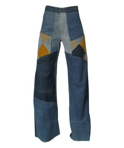 PROGRESS- Antonio Guiseppe Patchwork Denim Tan, Suede, High Waisted Bell Bottoms - C.Madeleine's