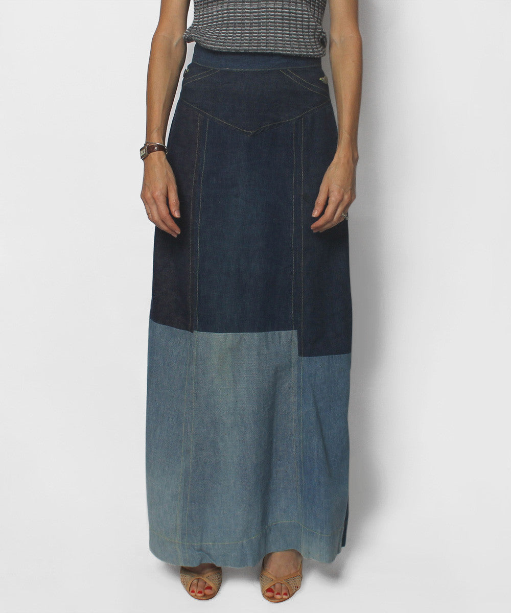 PROGRESS- Lookinglass Patchwork Denim Long Skirt - C.Madeleine's