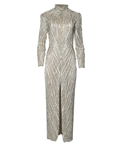 Bob Mackie Beaded Pearl Gown