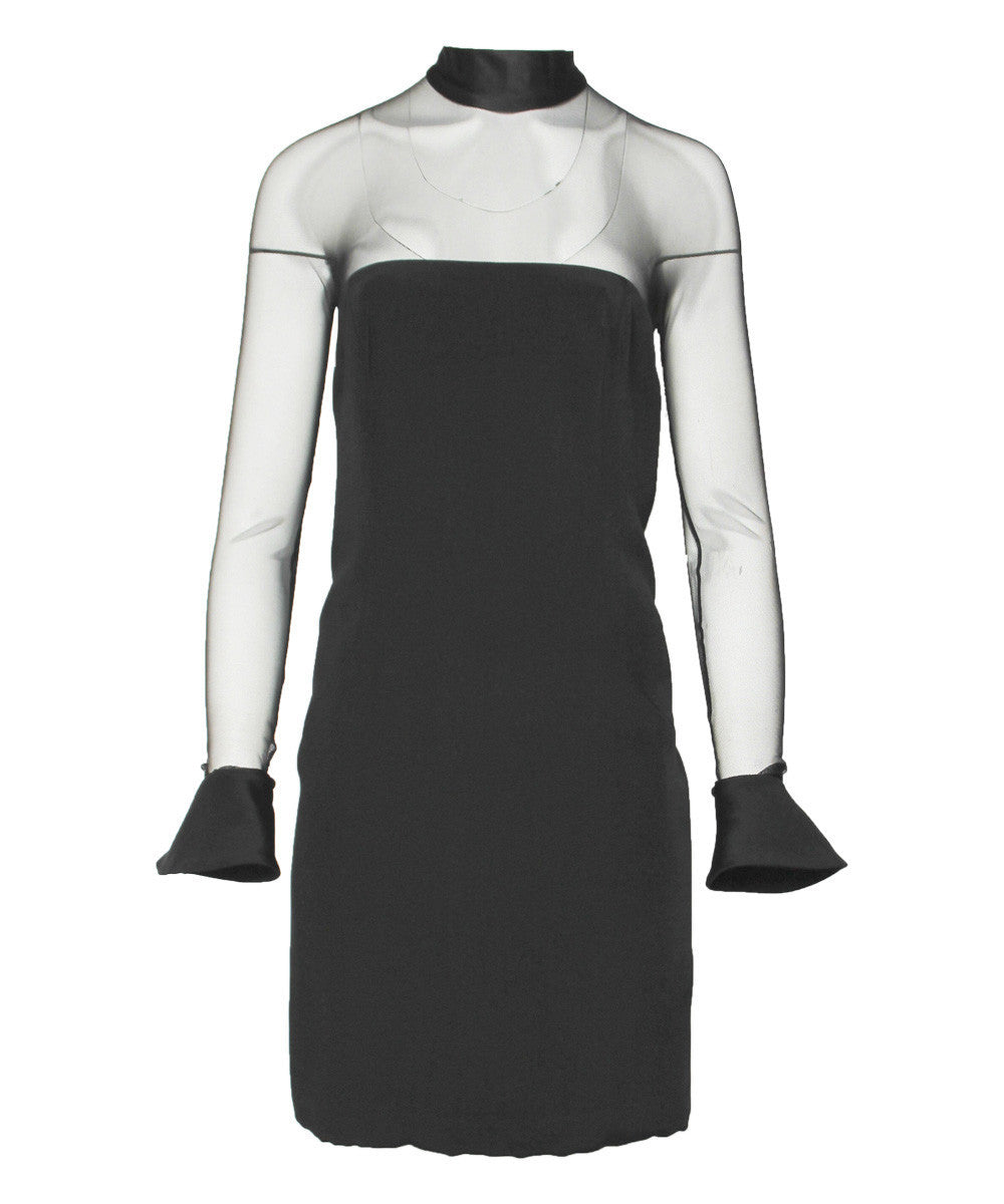 Vera Wang Mesh Long Sleeve Black Dress - C.Madeleine's