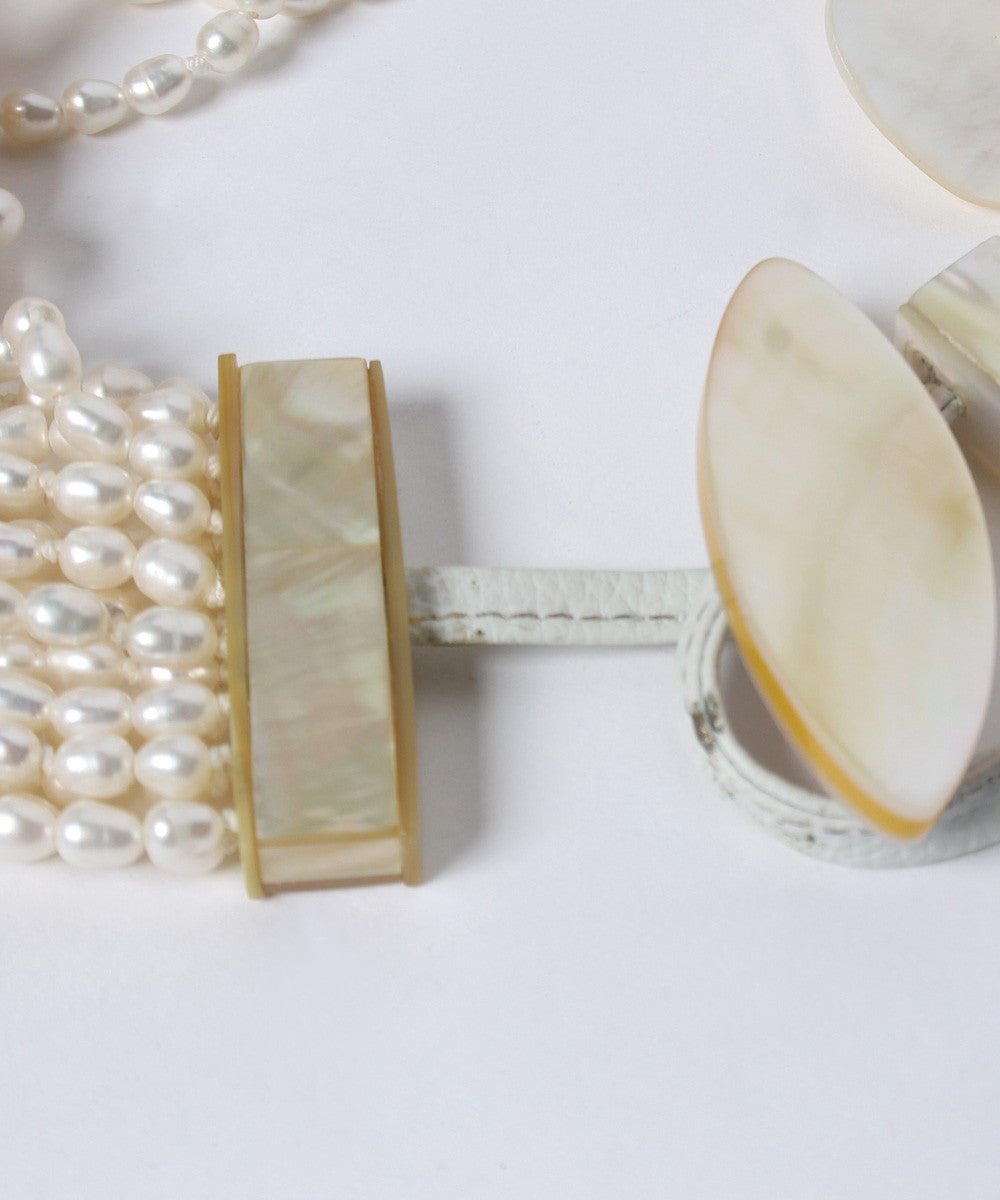 K.PROGRESS - Multi-Strand Pearl Necklace With Mother Of Pearl Shell Disc Charms (NO PHOTOS) - C.Madeleine's