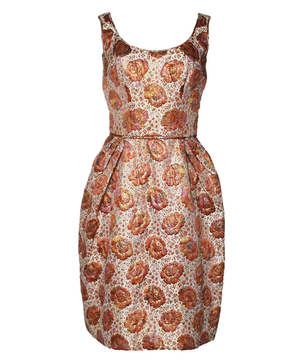 Lillie Rubin Floral Brocade Apricot Dress Suit - C.Madeleine's