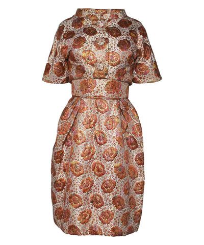 Lillie Rubin Floral Brocade Apricot Dress Suit