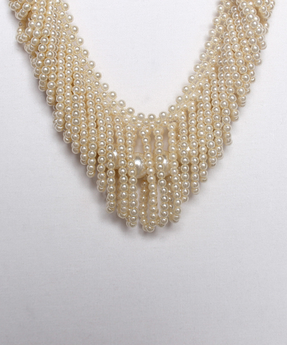 K.PROGRESS - Cream Mini Pearls Graduated Looped With Center Faux Pearl Strand Necklace (NO PHOTOS) - C.Madeleine's