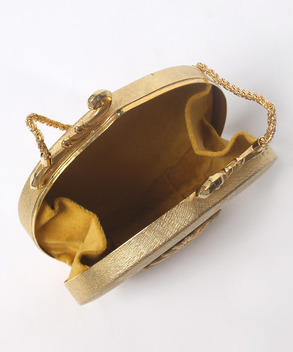 1970s Gi Gi Brushed Gold Tone Metal Hard Shell Purse - C.Madeleine's