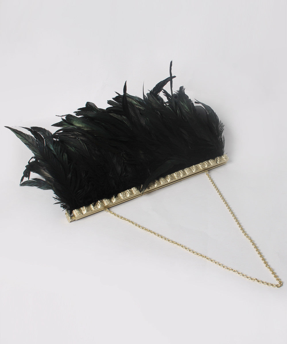 PROGRESS- R.Cord Handmade Marabon Feather Egyptian Style Clutch/ Purse - C.Madeleine's