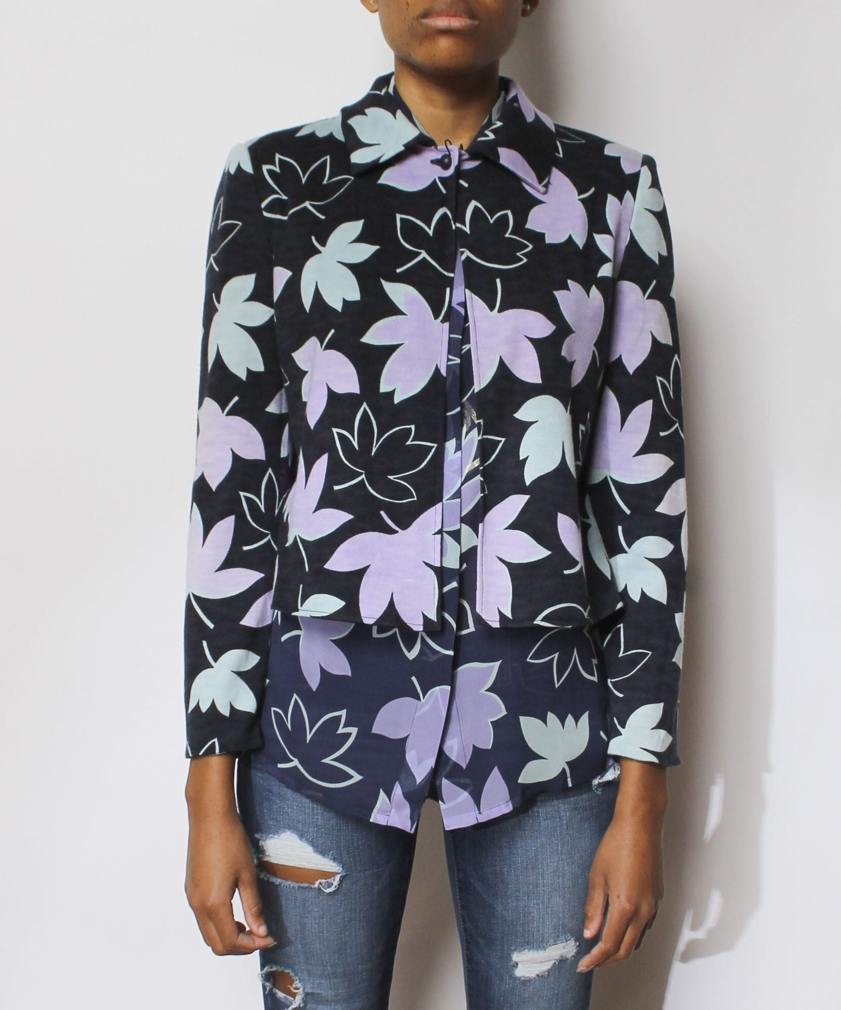 Istante by Versace Leaf Print Blouse & Cardigan with Faux Fur Collar - C.Madeleine's