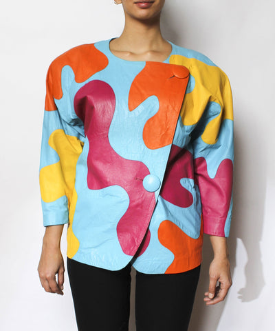 1980s Abstract Leather Jacket - C.Madeleine's