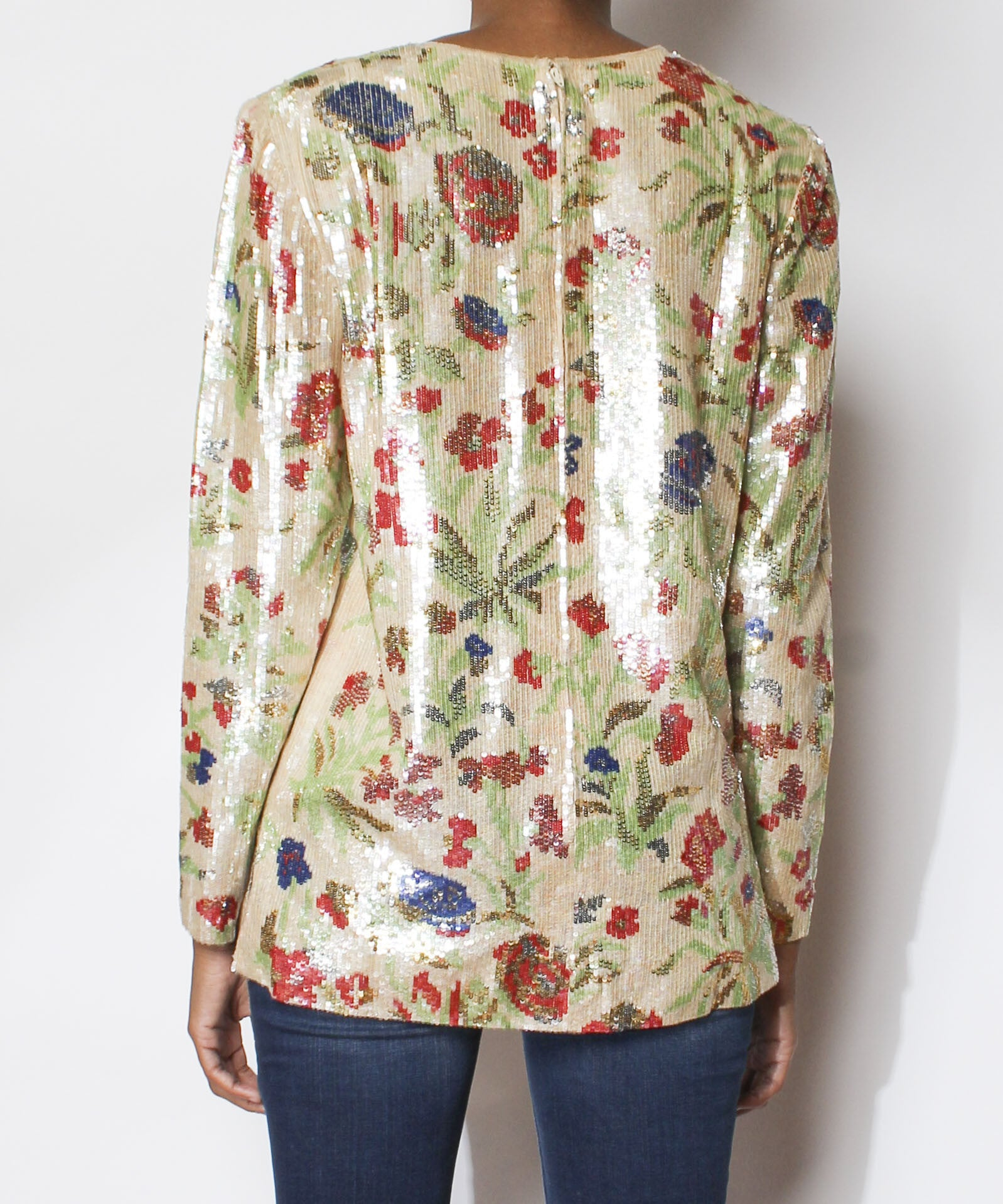 Bill Blass 1980s Floral Sequined Top - C.Madeleine's