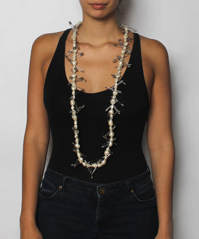 K.PROGRESS - Pearl And Safety Pin Necklace - C.Madeleine's