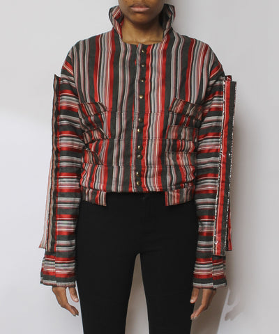 Efthemios Konstantine 1980s Striped Red Vinyl Strip Jacket