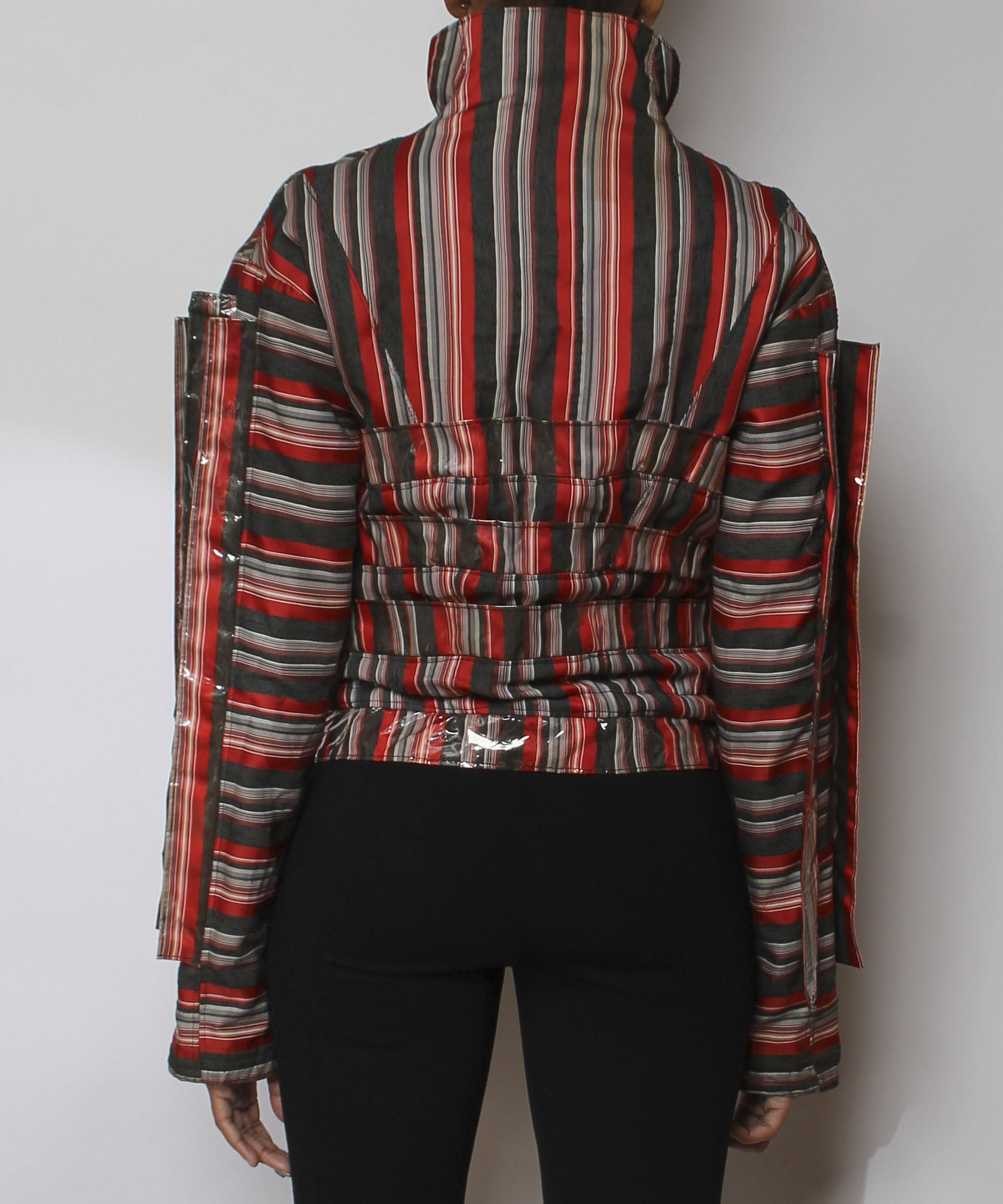 Efthemios Konstantine 1980s Striped Red Vinyl Strip Jacket - C.Madeleine's